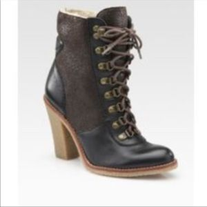 Sam Edelman heel boots with shearling lining